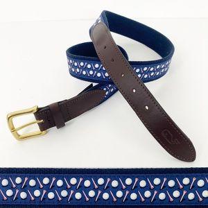 Vineyard Vines Golf Ball Tee Canvas Leather Belt